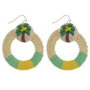 *HP* Raffia Palm Tree Drop Pierced Earrings NWT
